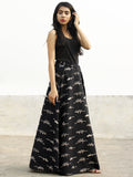 Black Beige Hand Block Printed Wrap Around Skirt  - S40F168