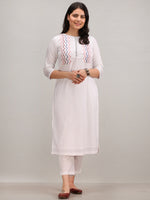 Noor Afiha -  Self Embroidered Kurta Pant Set With Leheriya Dupatta - KS112AYYD9