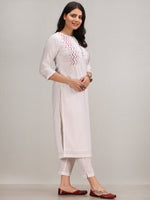 Noor Abida -  Self Embroidered Kurta Pant Set With Leheriya Dupatta - KS112AYYD7