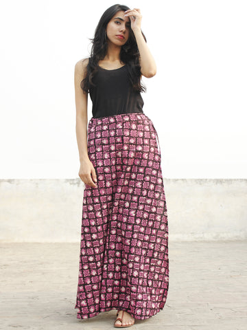 Pink Black Ivory Hand Block Printed Wrap Around Skirt  - S40F377