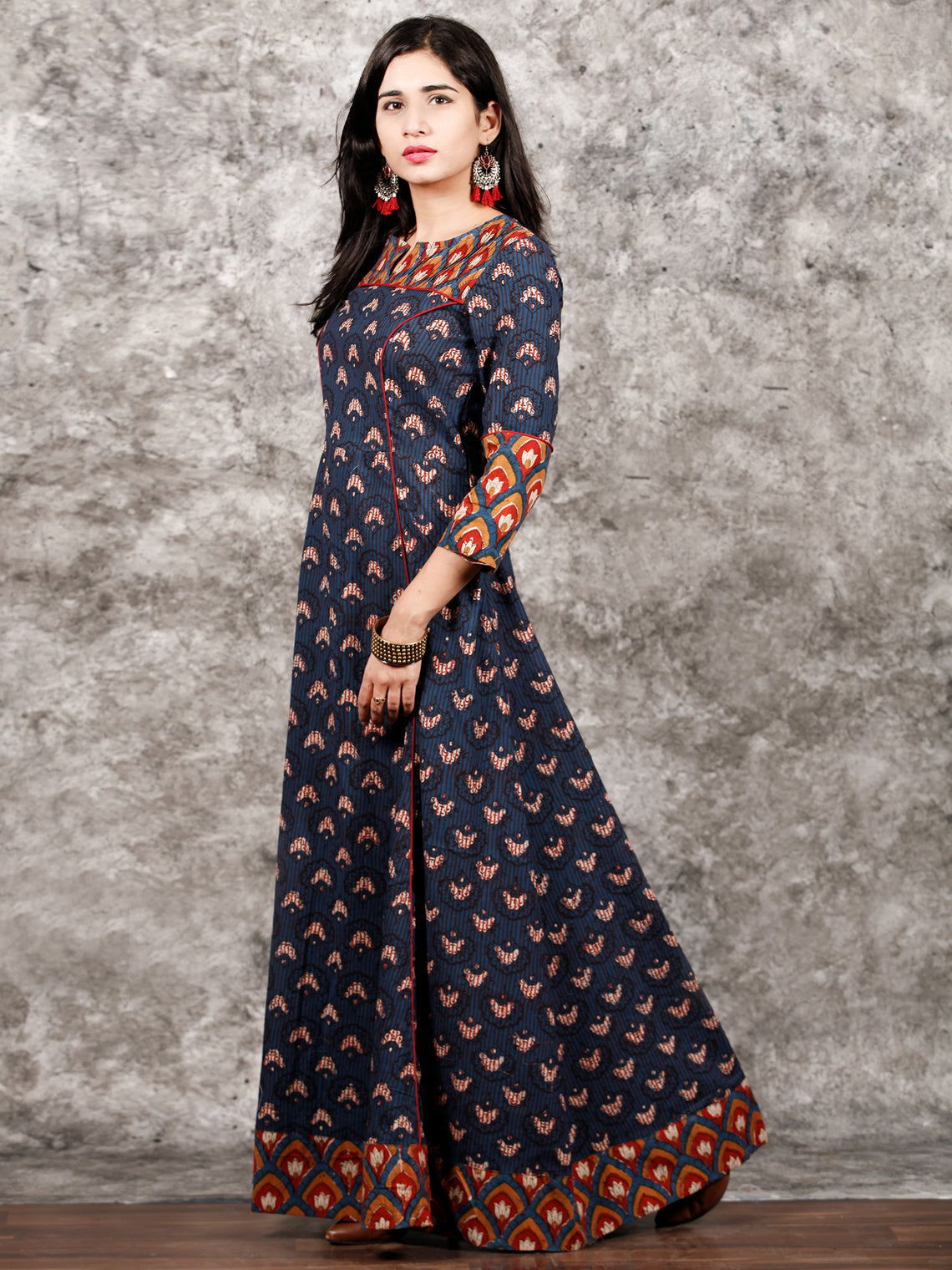Indigo Mustard Red Hand Block Printed Long Cotton Dress With Pin tucks Details  - D186F998