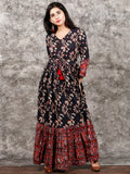Indigo Brown Red Ivory Hand Block Printed Long Cotton Dress With Tie Up Waist and Tassels -  D170F1352