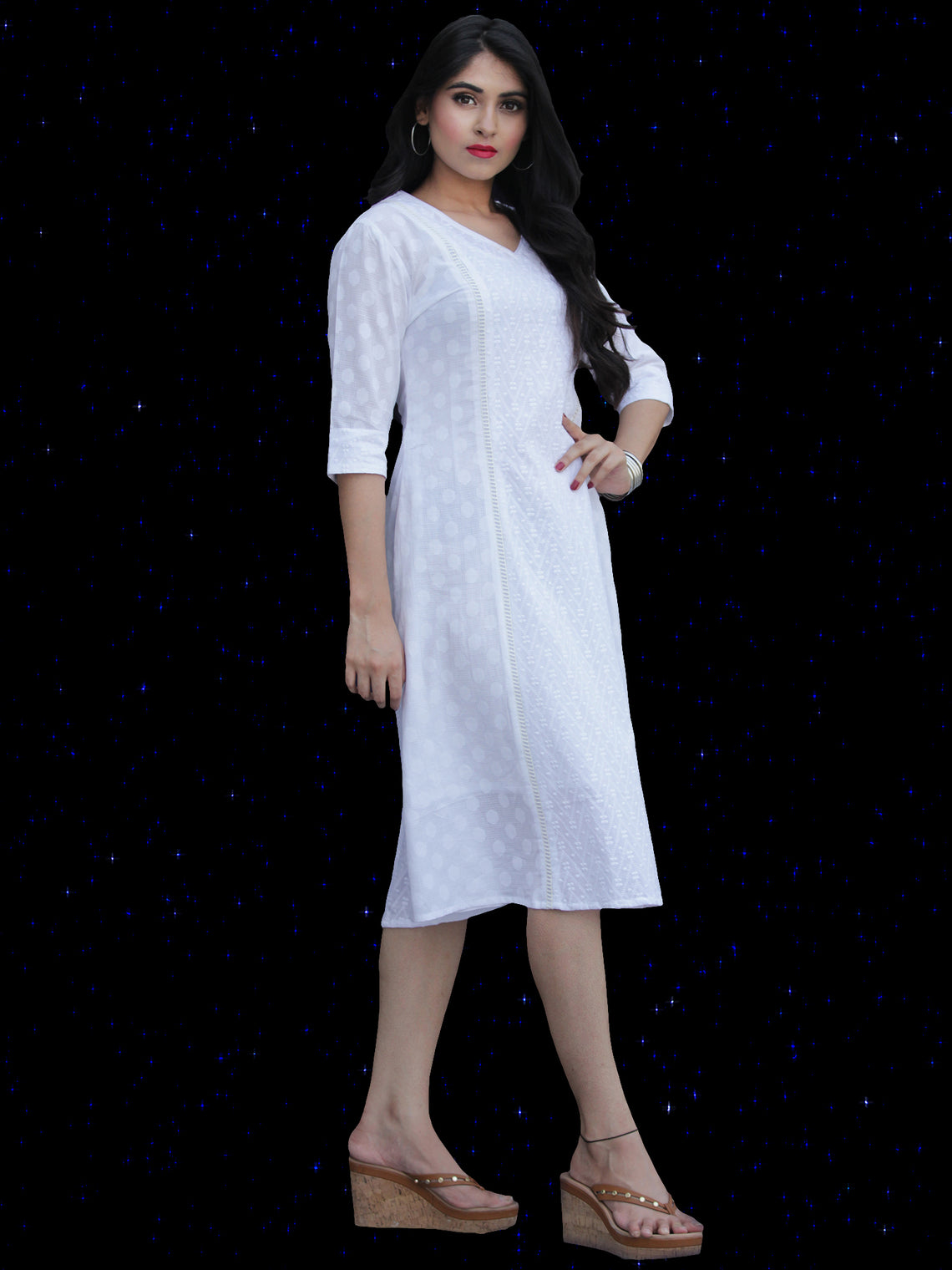 Chandni Taaj - Embroidered Cotton Dress With Back Knots - D449FP04