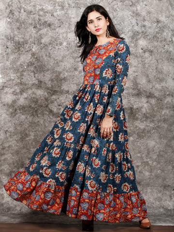 Indigo Rust Ivory Red Long Hand Block Printed Cotton Tier Dress - D139F1312