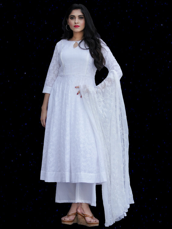 Chandni Sabd - Embroidered Cotton Kurta Palazzo Set With Chiffon Dupatta - KS37SFP02BWD