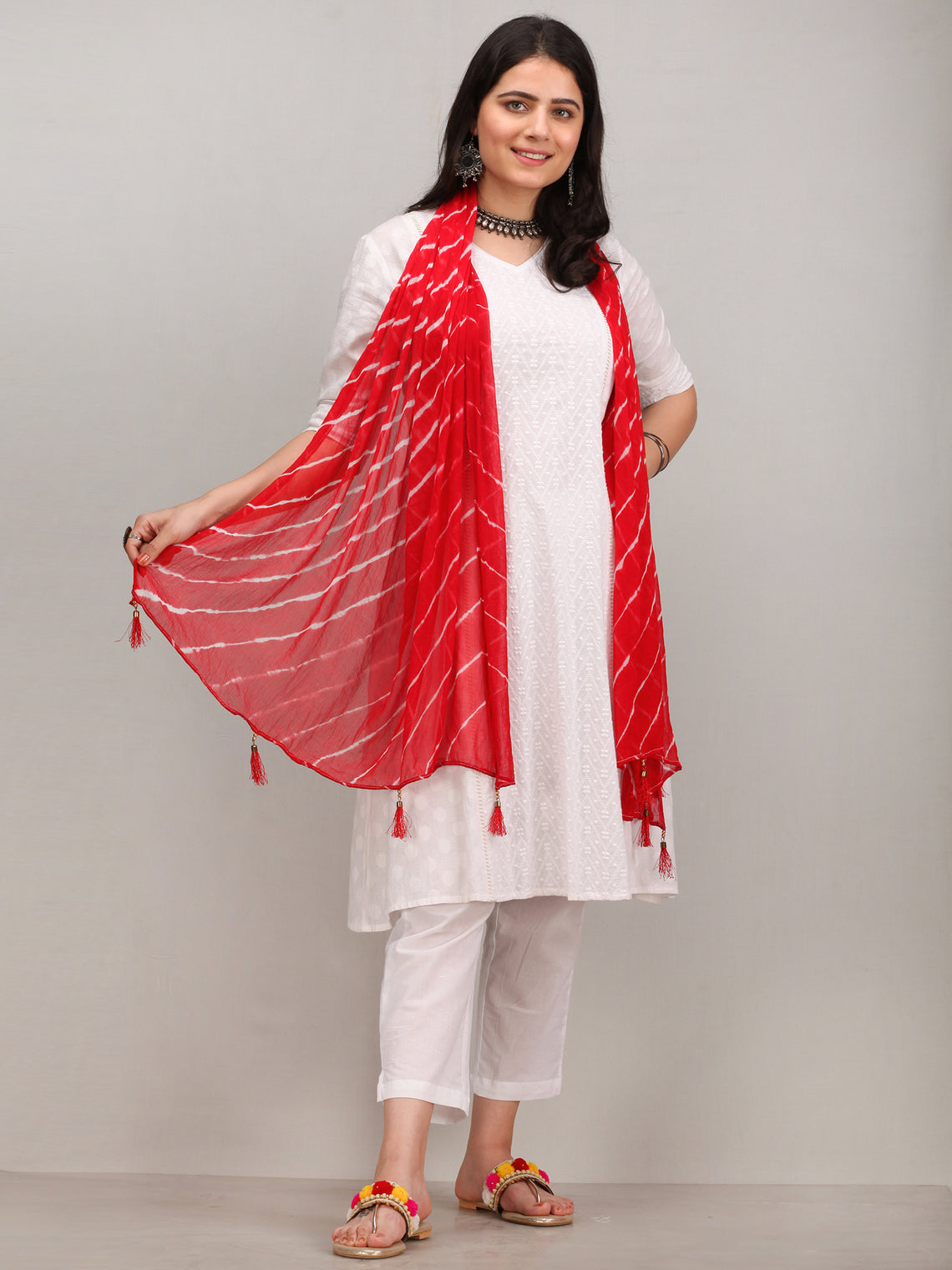 Noor Jasrin -  Self Embroidered Kurta Pant Set With Leheriya Dupatta - KS115AYYD4