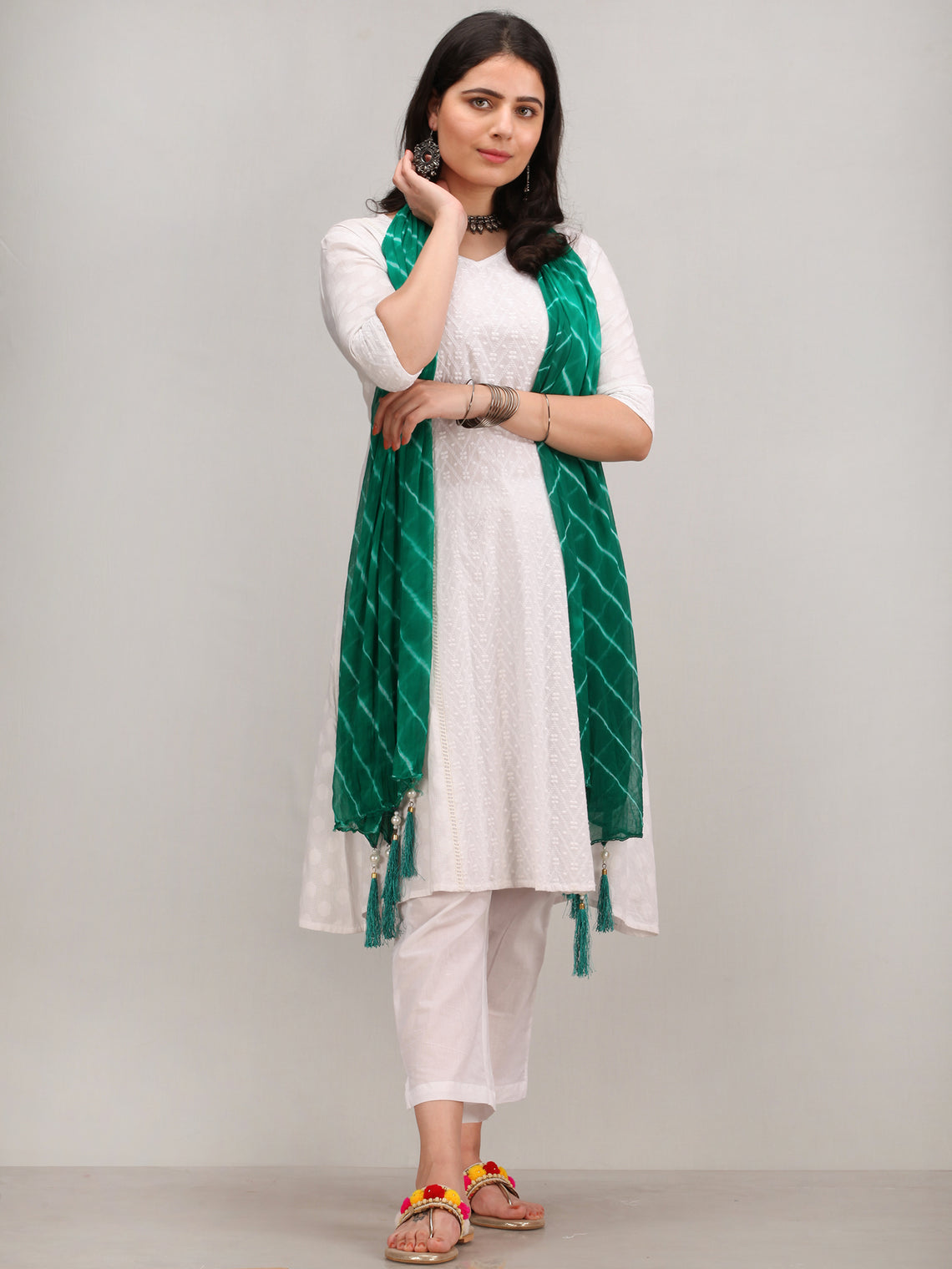 Noor Mazin -  Self Embroidered Kurta Pant Set With Leheriya Dupatta - KS115AYYD5