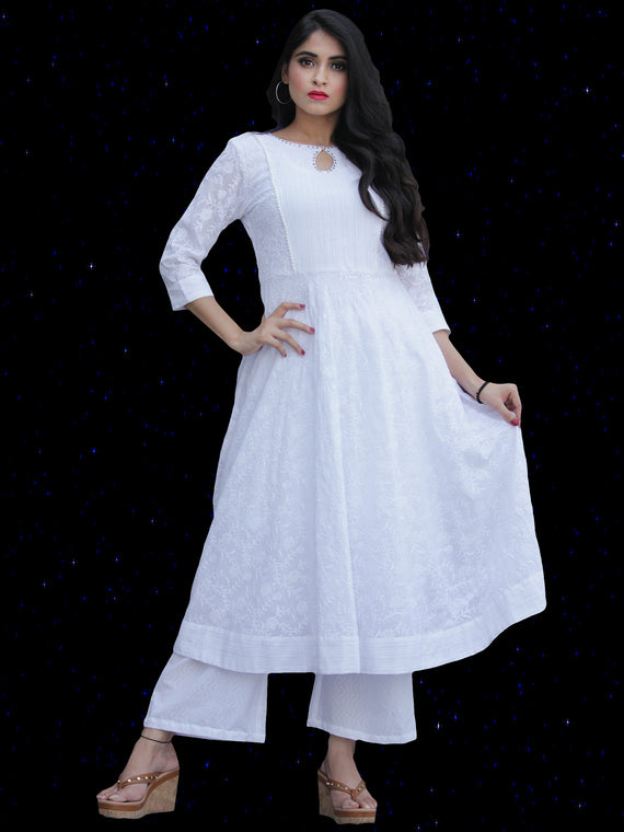 Chandni Sabd - Embroidered  Cotton Kurta Palazzo Set - KS37SFP02