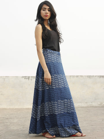 Indigo Ivory Hand Block Printed Wrap Around Skirt  - S40F138