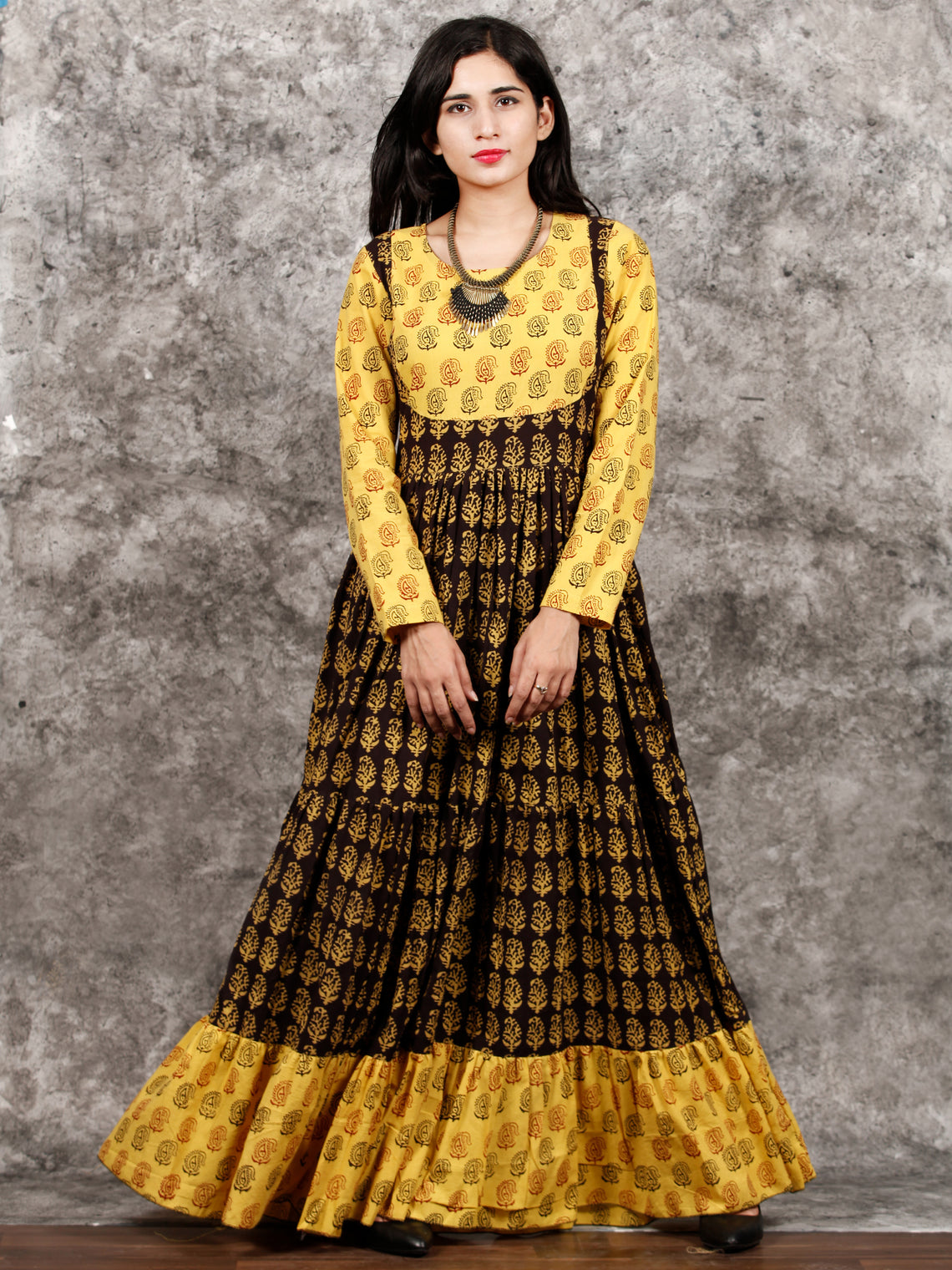 Yellow Black Maroon Bagh Printed Cotton Long Tier Dress  - D135F1701