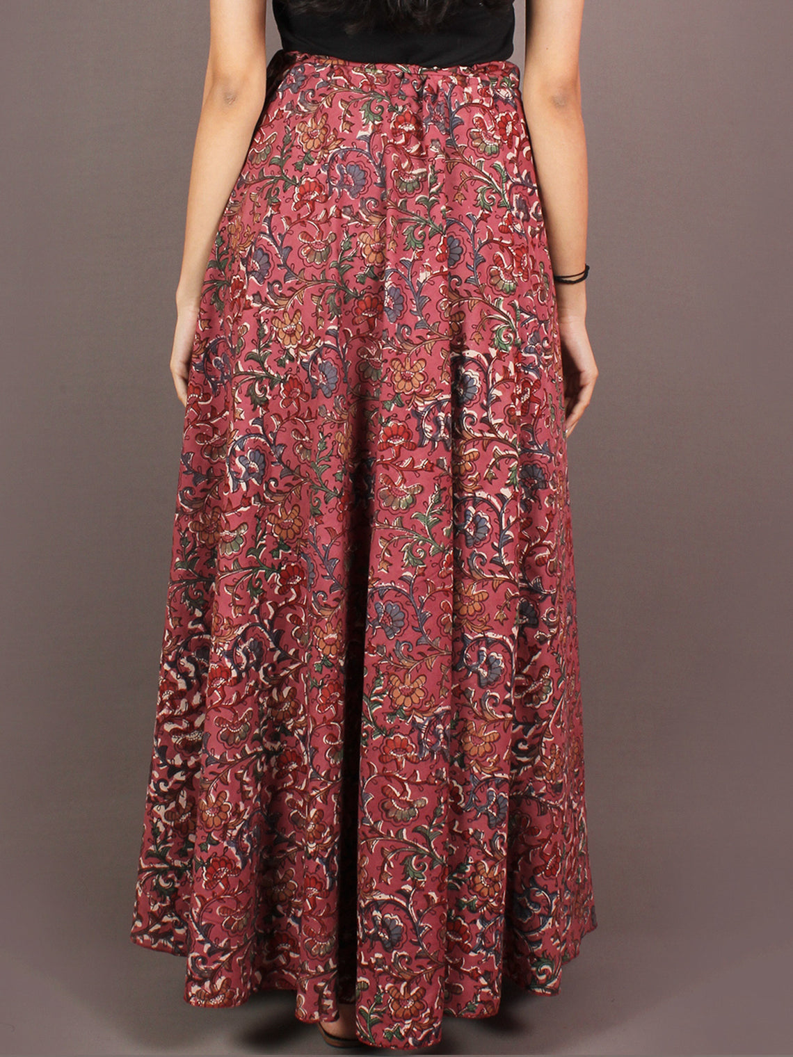 Hand Block Printed Wrap Around Skirt In Salmon Pink Multi Colour - S401001