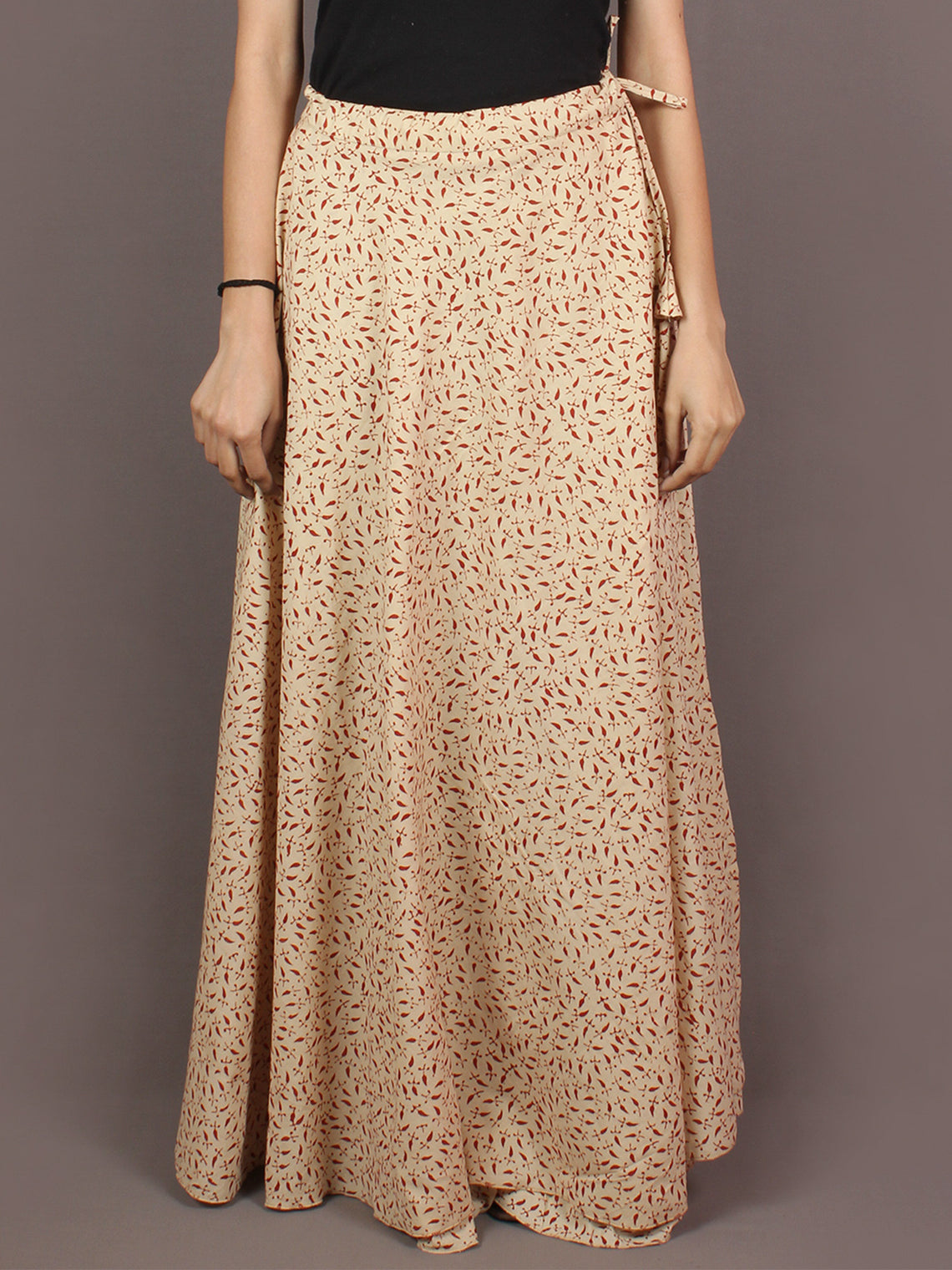 Hand Block Printed Wrap Around Skirt In Beige Maroon - S401003