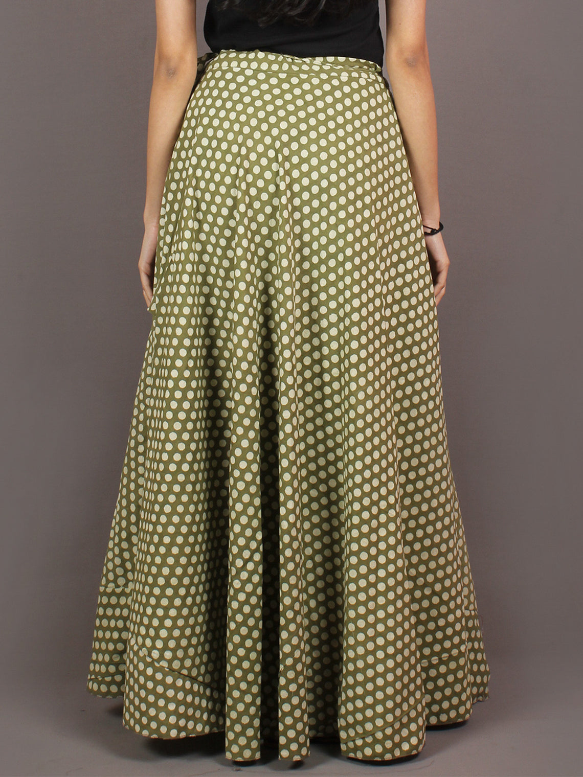 Hand Block Printed Wrap Around Skirt In Green White - S401006