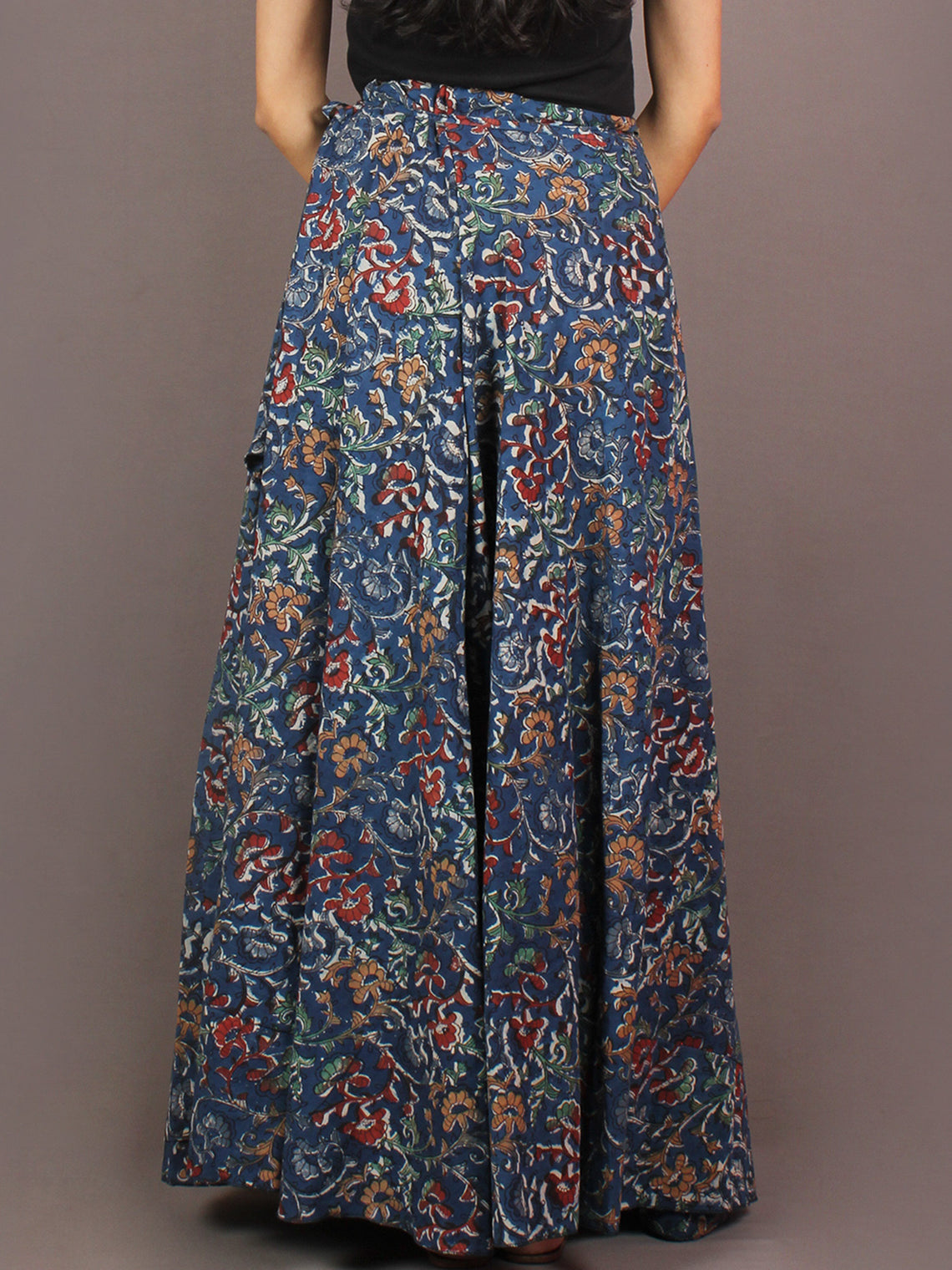 Hand Block Printed Wrap Around Skirt In Blue Multi Colour - S401008