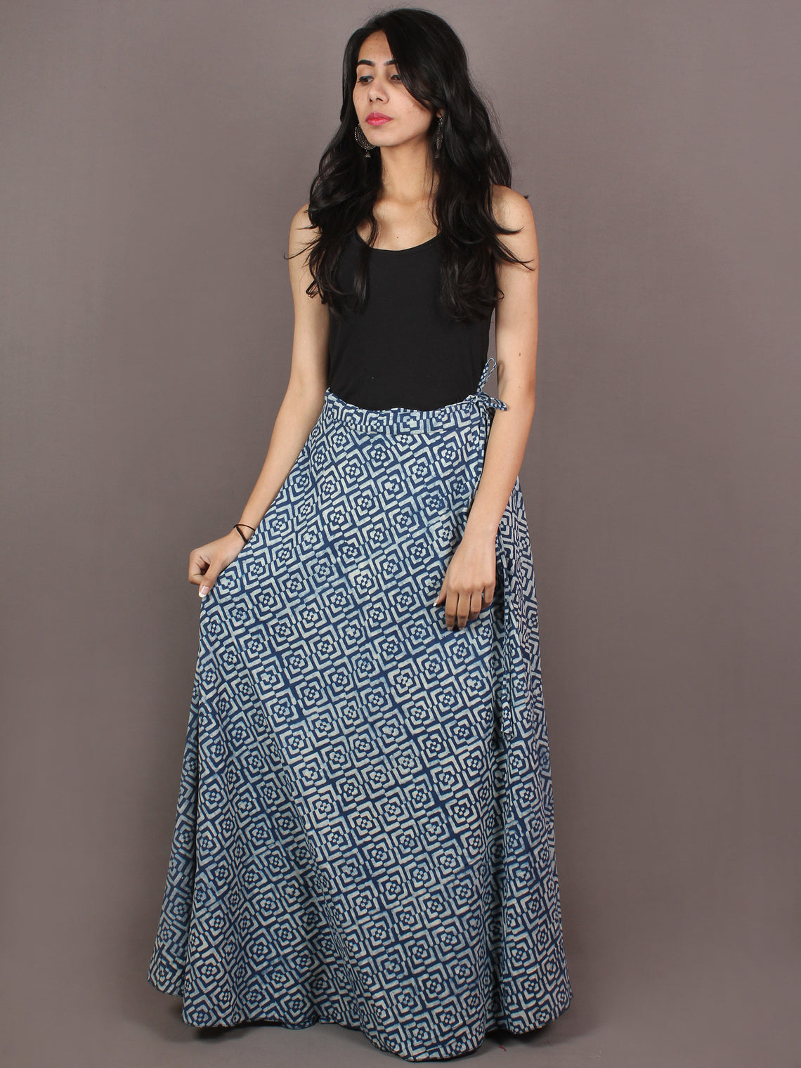Hand Block Printed Wrap Around Skirt In Indigo White - S401009