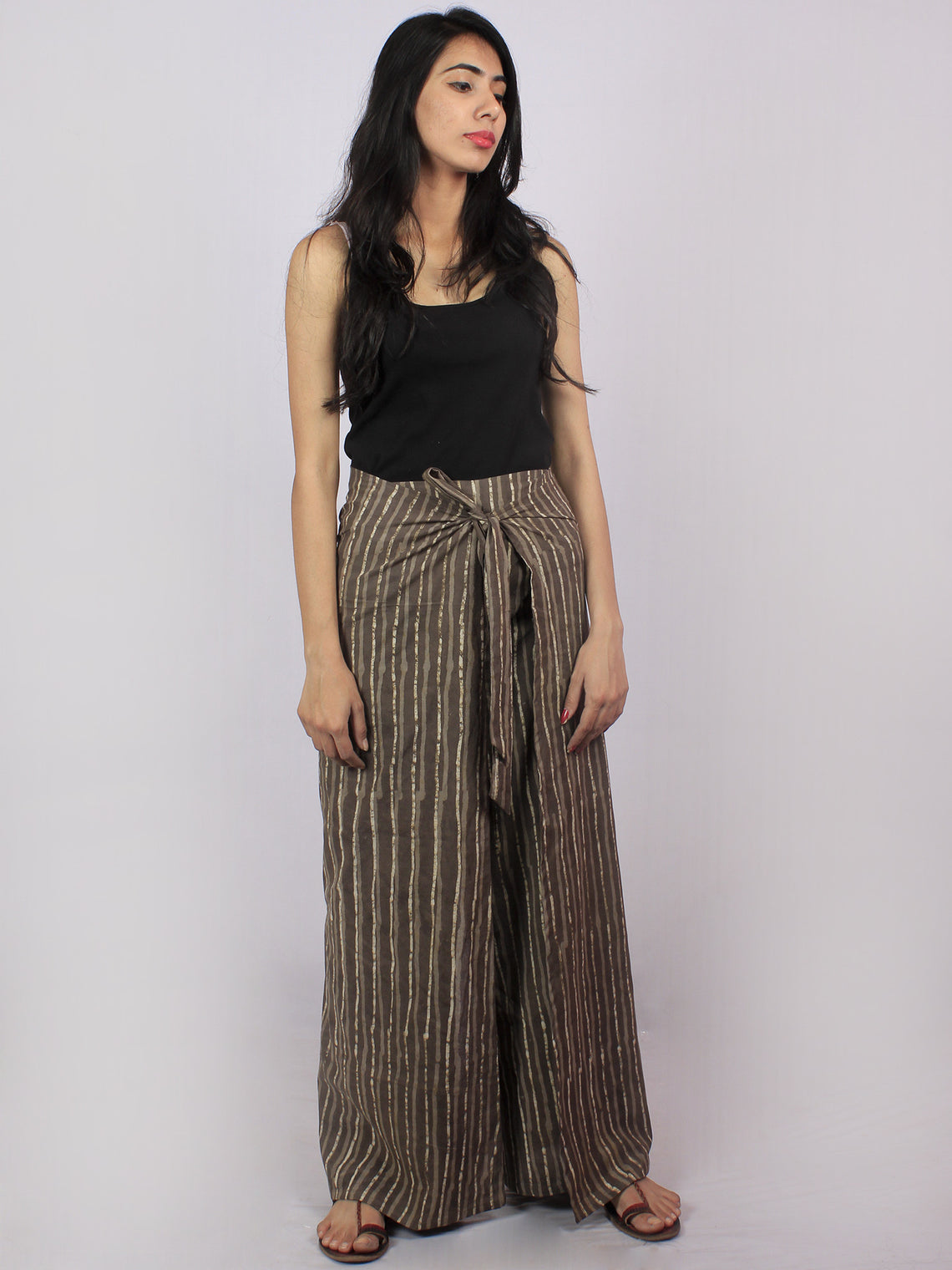 Brown Beige Hand Block Printed Free Size Tie Up Wrap Around Trousers - T0317045