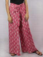 Pink Ivory Hand Block Dabu Printed Free Size Tie Up Wrap Around Trousers - T0317044