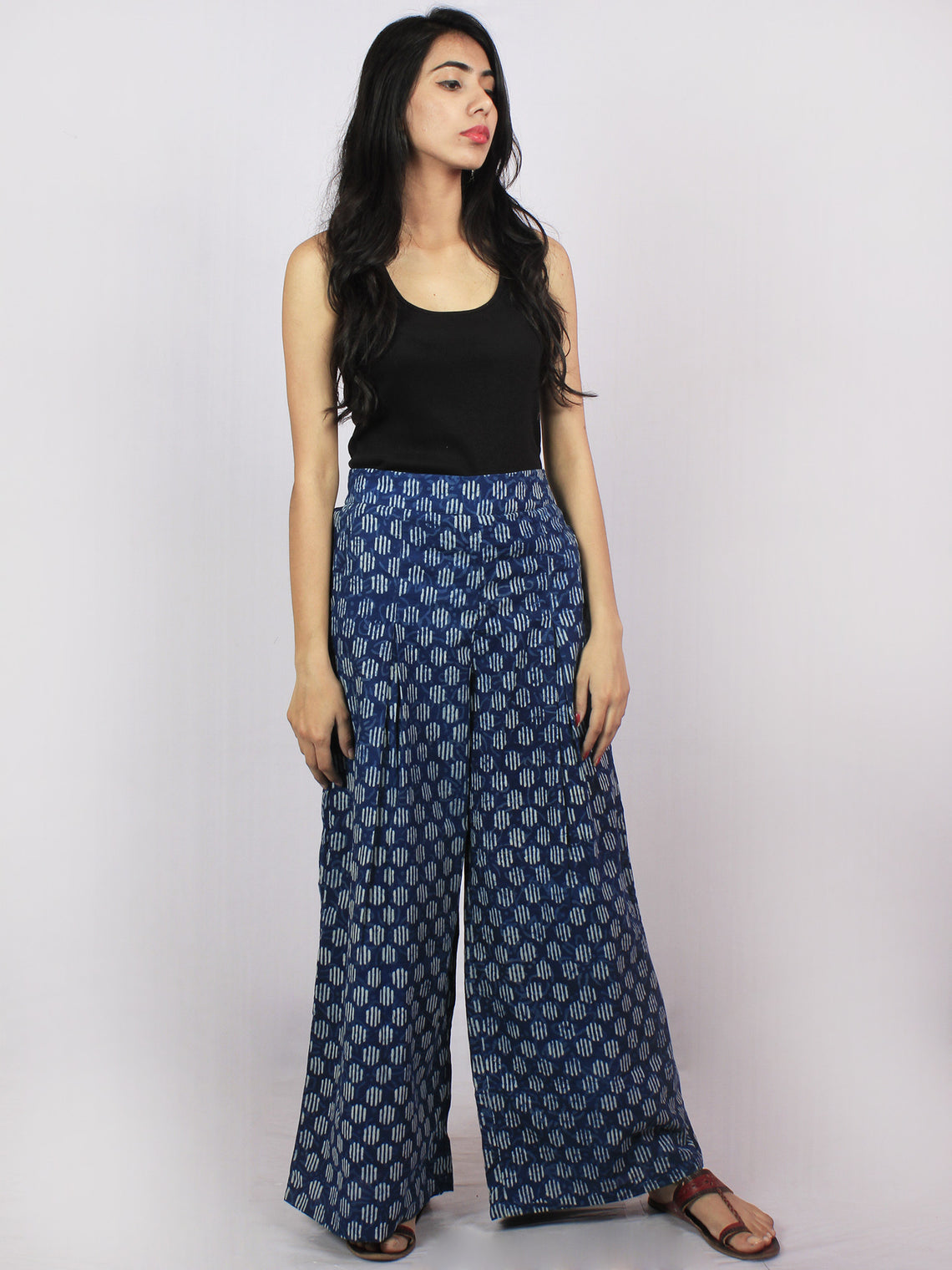 Indigo White Hand Block Printed Semi Elasticated Waist Pleated Cotton Palazzo - P1117087
