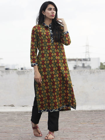 Olive Rust Green Indigo Ajrakh Block Printed Kurta With Stand Collar And Side Slits  - K17F633