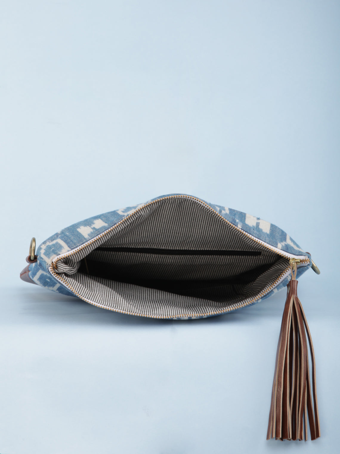 Sky Blue OffWhite Ikat & Vegan Leather Fold Over Sling Bag - B1301