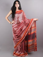 Brown Red Mono Chanderi Hand Block Printed Saree with Zari Border - S0317223