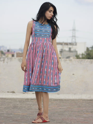Pink Blue Ivory Handwoven Ikat  Sleeveless Dress With Side Pockets-  D68F926