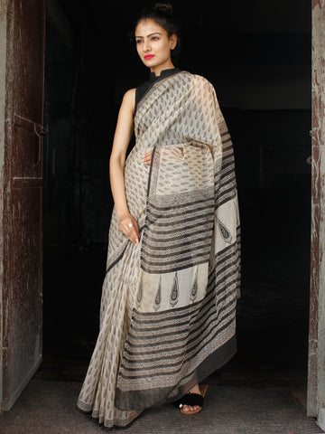 Beige Black Hand Block Printed Kota Doria Saree in Natural Colors - S031703551