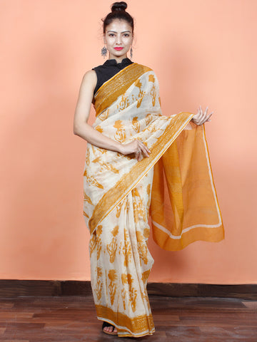 Beige Mustard Hand Block Printed Kota Doria Saree in Natural Colors - S031703553