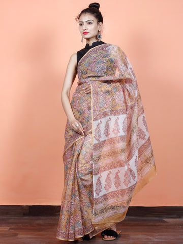 Ivory Pink Peach Hand Block Printed Kota Doria Saree in Natural Colors - S031703554