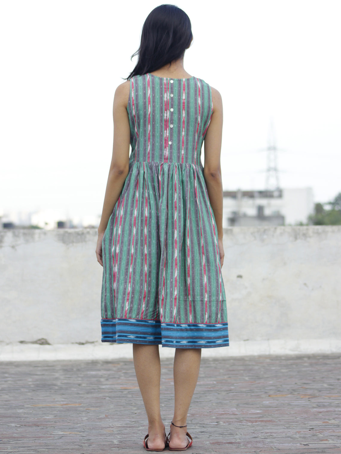 Green Blue Ivory Handwoven Ikat  Sleeveless Dress With Side Pockets-  D68F924