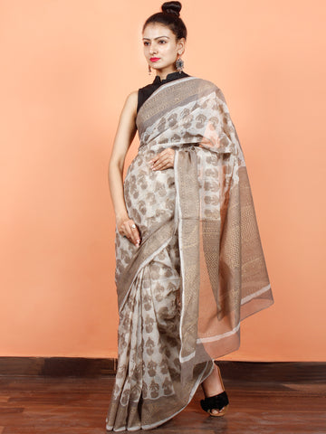 Ivory Kashish Gold Hand Block Printed Kota Doria Saree in Natural Colors - S031703555