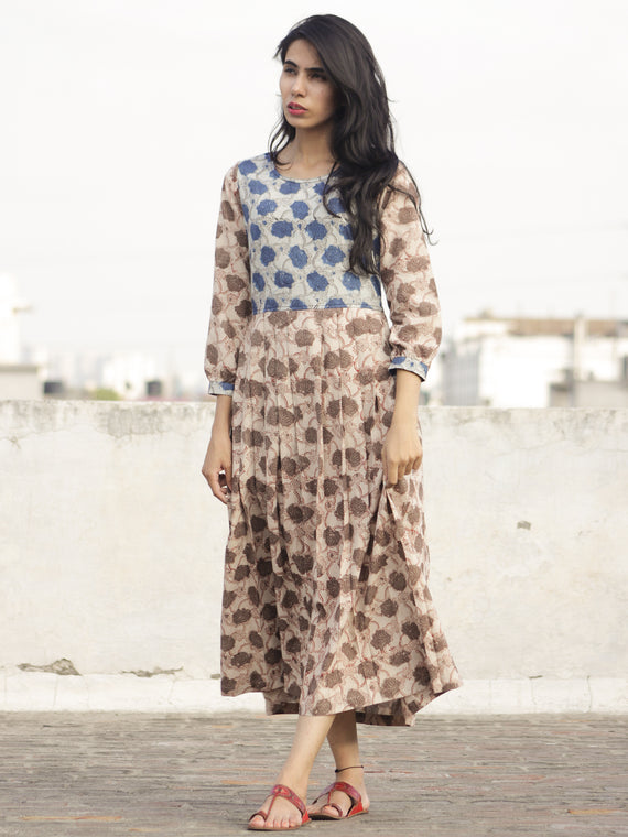 Ivory Kashish Indigo Long Hand Block Printed Cotton Dress With Knife Pleats & Side Pockets - D90F959