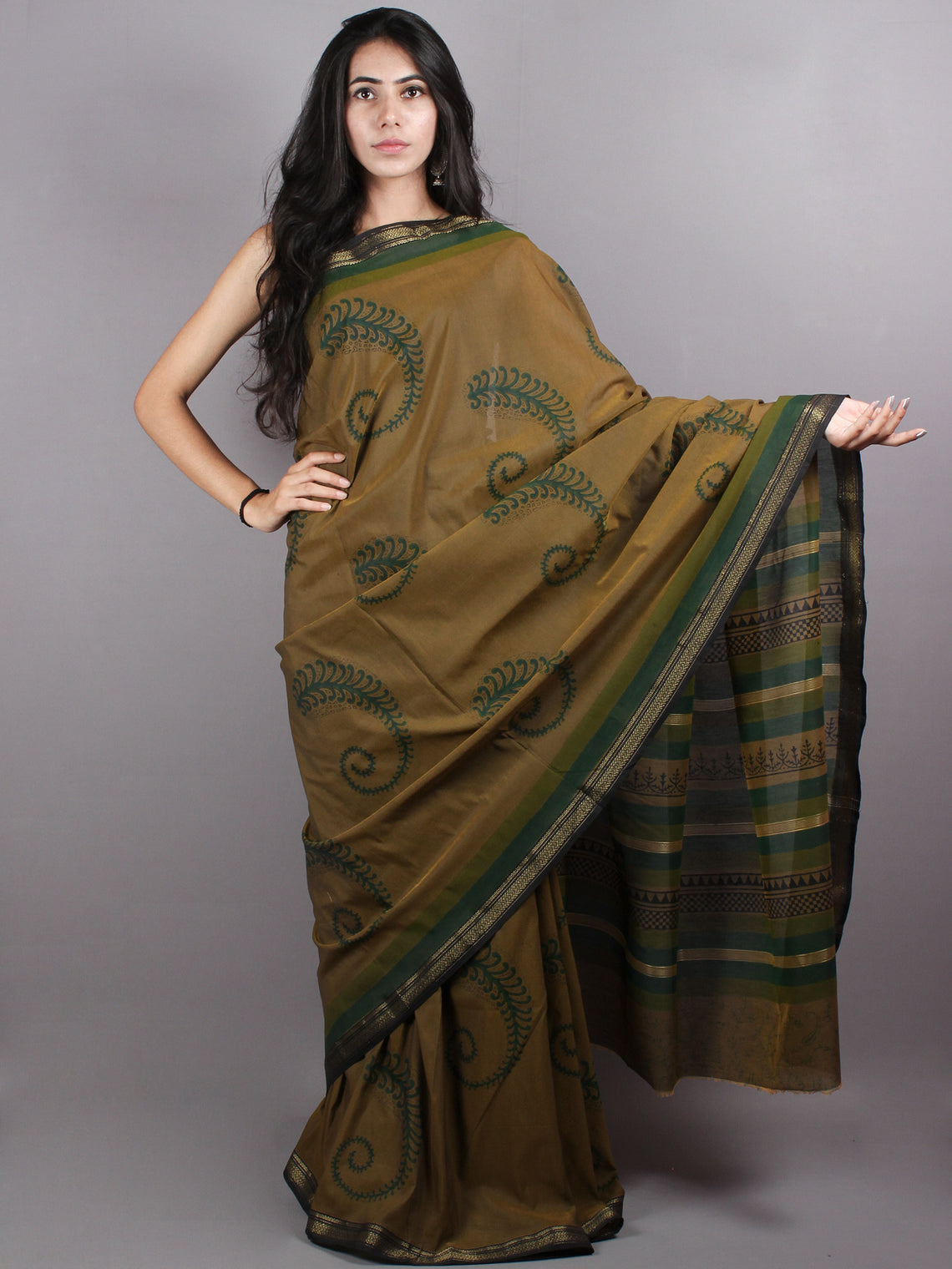 Brown Green Mono Chanderi  Hand Block Printed Saree with Zari Border - S0317200