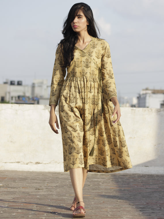 Beige Olive Green Ivory Hand Block Printed Cotton Angrakha Dress With Tassel  - D97F900