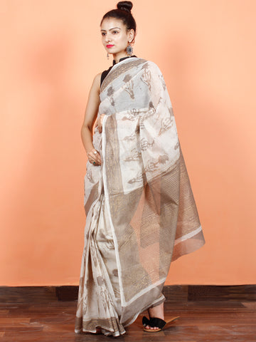 Ivory Kashish Gold Hand Block Printed Kota Doria Saree in Natural Colors - S031703558