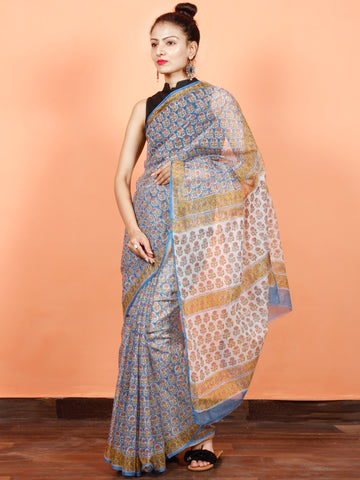 Blue Pink Yellow Hand Block Printed Kota Doria Saree in Natural Colors - S031703560