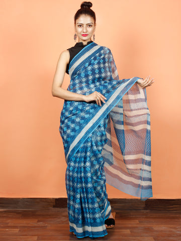 Blue White Hand Block Printed Kota Doria Saree in Natural Colors - S031703559