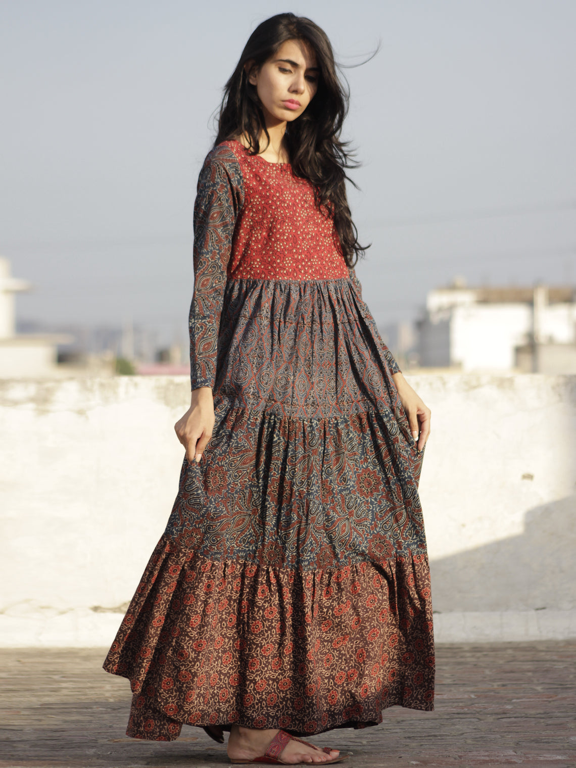 Indigo Maroon Red Yellow Ajrakh Hand Block Printed Tier Dress  -  D95F649
