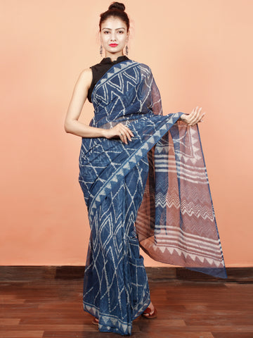 Indigo White Blue Hand Block Printed Kota Doria Saree in Natural Colors - S031703564