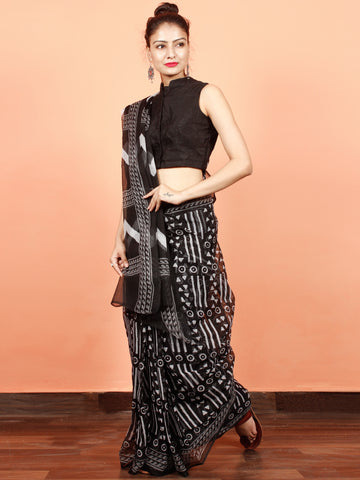 Black White Hand Block Printed Kota Doria Saree in Natural Colors - S031703565