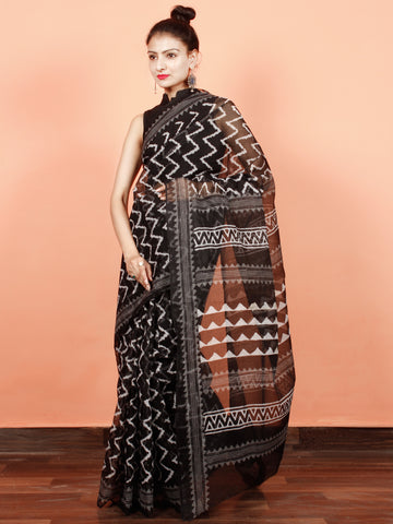 Black Grey White Hand Block Printed Kota Doria Saree in Natural Colors - S031703566