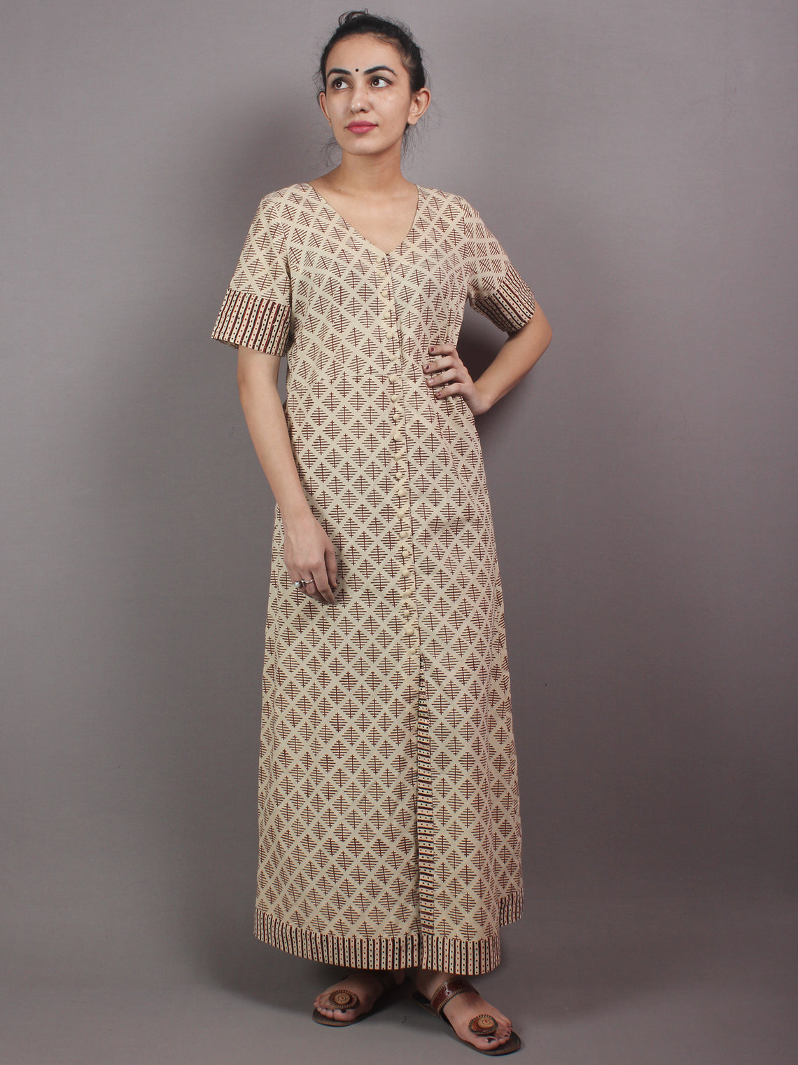 Beige Brown Black Hand Block Printed Long Cotton Dress With Front Slit - D0435001