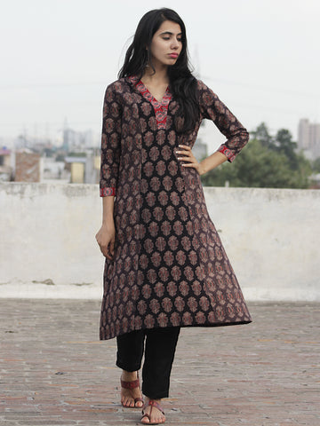 Black Beige Dark Brown Red  Ajrakh Block Printed Kurta  - K19F638