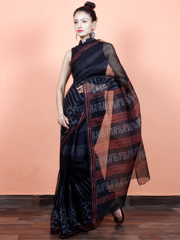 Black Grey Red Hand Block Printed Kota Doria Saree in Natural Colors - S031703567