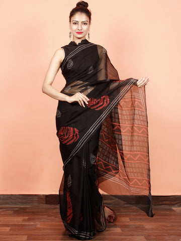 Black Red Grey Hand Block Printed Kota Doria Saree in Natural Colors - S031703570