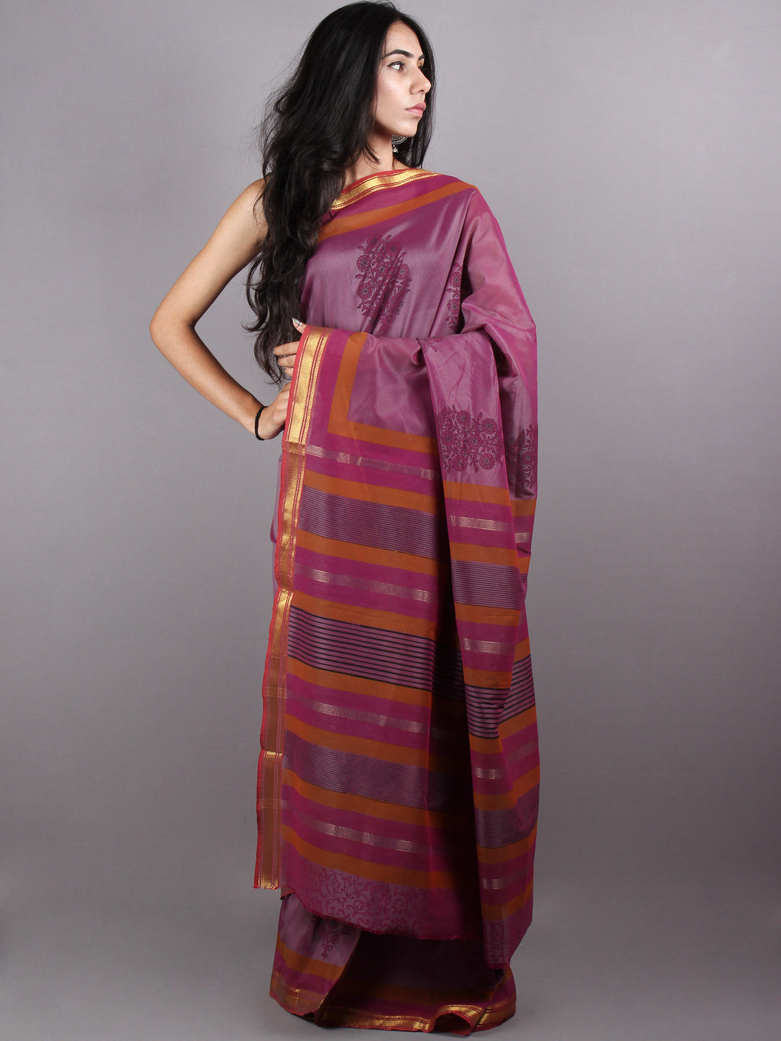 Magenta Maroon Mono Chanderi  Hand Block Printed Saree with Zari Border - S0317204