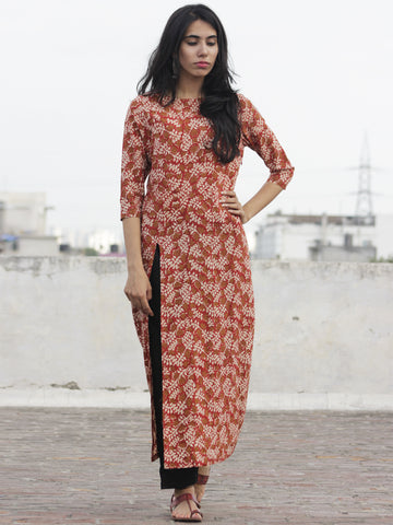 Red Mustard Ivory Hand Block Printed Kurti With Front Slit - K08F592