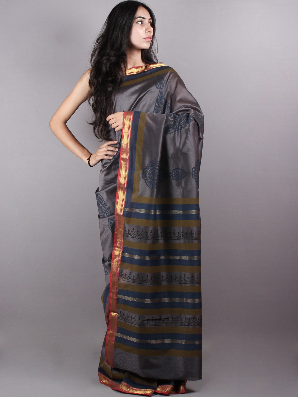 Grey Blue Mono Chanderi  Hand Block Printed Saree with Zari Border - S0317208