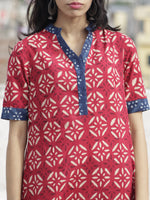 Deep Red Indigo Ivory Hand Block Printed Kurta With Stand Collar   - K22F225