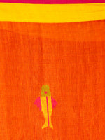 Orange Red Yellow Lavender  Handwoven Linen Jamdani Saree With Fish Motif - S031703578